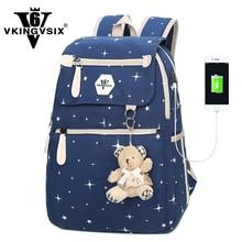 Vkingvsix USB Mini рюкзаки девочка мальчик школьные сумки для подростков с медведем Mochila женщины рюкзак для ноутбука 1-6 Класс Back Pack