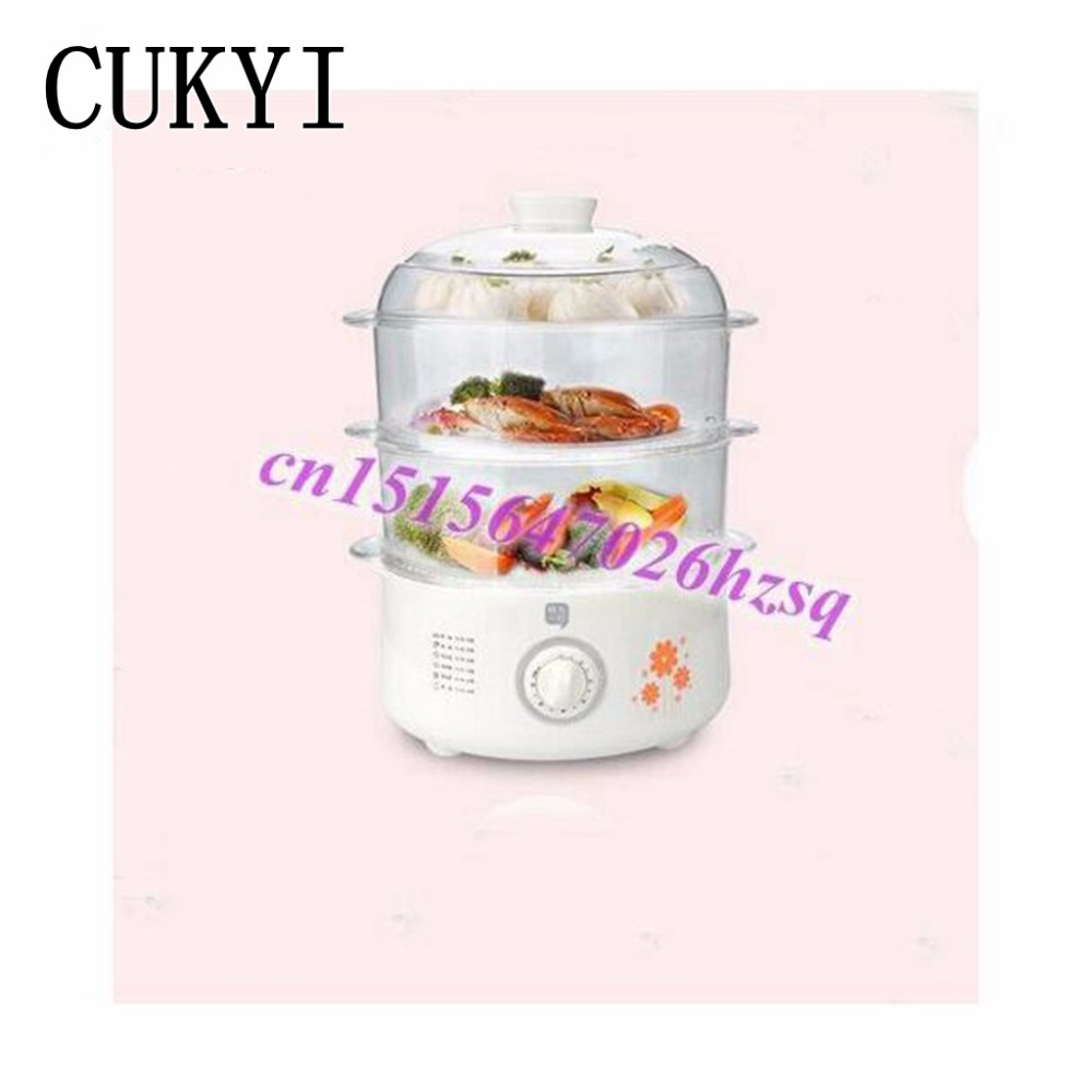 CUKYI Household Multifunctional electric steamer timed Three large-capacity electric steamer dish pan steamed buns cukyi household electric multi function cooker 220v stainless steel colorful stew cook steam machine 5 in 1