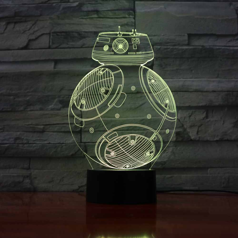 3D Led 7 Color Changing Visual USB Night Light Star Wars Robots BB-8 Lighting Fixture Kids Bedroom Bedside Table Lamp Decor Gift