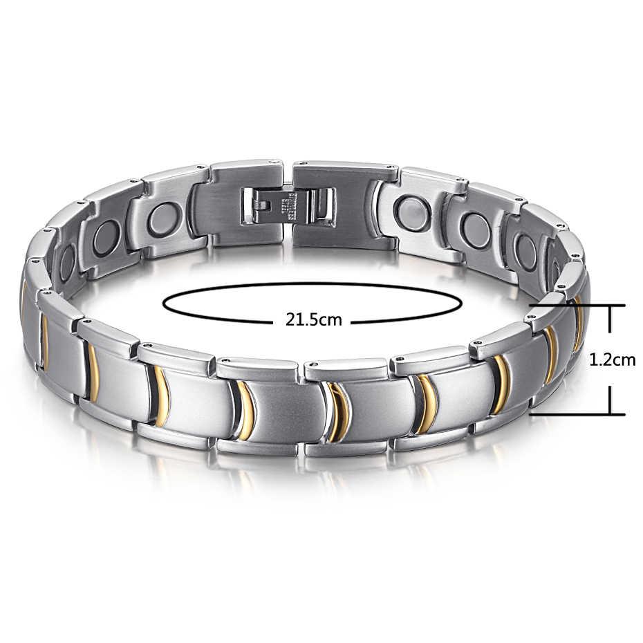 ¡Novedad! Pulseras magnéticas RainSo de acero inoxidable Color dorado, pulseras y brazaletes de moda para hombres