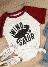 hot deal buy ins style t-shirts women short sleeve raglan winosaur dinosaur print o-neck tops summer fashion casual t shirt lady tops tees