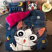High Quality Cartoon Cat Dog Deer Pattern Bedding Set Luxury Flannel Comfortable Bedding Sets Bed Sheet Duvet Cover Pillow Case