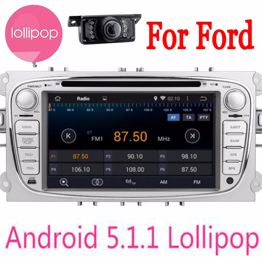 Double Din Android 5.1.1 in dash Car DVD gps Player For Ford Focus Mondeo Wifi GPS Navigation Radio FM free canbus and camera
