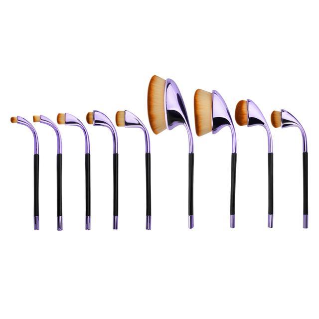 Profesional 9 unids de Cepillo Del Maquillaje En Polvo Fundación Crema de Sombra de Ojos Blush Maquillaje Herramienta Pinceles Kit de cepillo de Dientes Forma Oval + caja