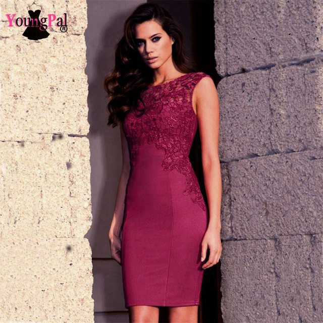 Elegant Lace Patchwork Bodycon Bandage Dress Vestidos Party Celeb