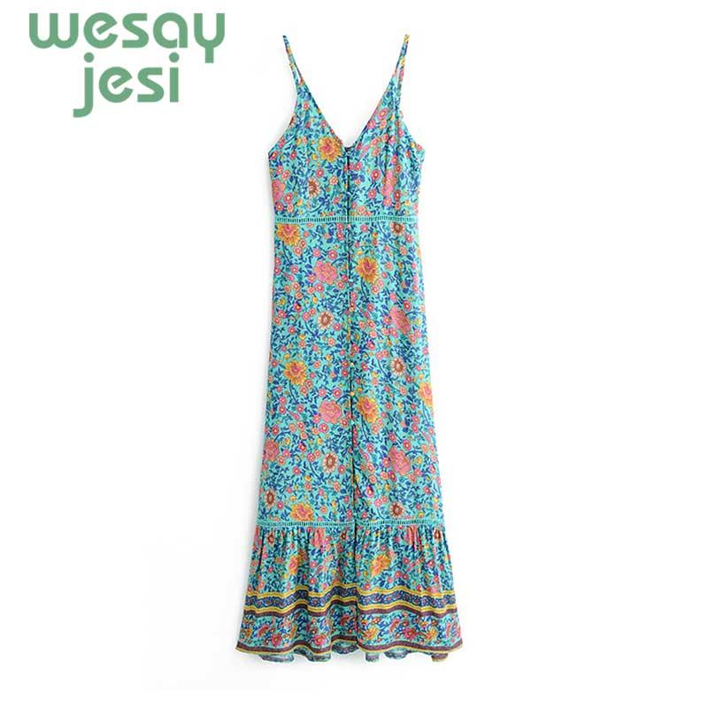 2019 new V Neck Button Down Midi Dress Boho Mint Floral Print Summer Sleeveless Beach Dress Hippie Casual Women jurkjes in Dresses from Women 39 s Clothing