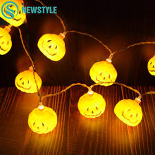 2M 20 LEDs Halloween Pumpkin String Lights 3 AA Battery Operated Warm White Lanterns Light Holiday Christmas Party Garden Decor(China)