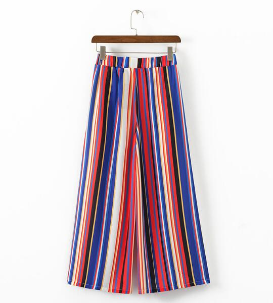 Chic Rainbow Colored Striped Print Wide Leg Pants 2018 Woman Elastic High Waist Ankle-Length Casual Loose Trousers 3