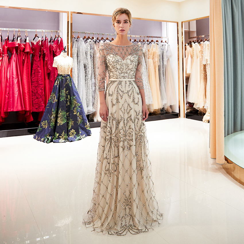 2019 Half Sleeve Evening Dresses for Women Luxury Heavy Beaded Long Formal Evening Party Dresses With