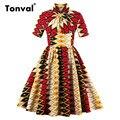 Tonval Chic Vintage Красочный Плед Платье для Женщин Плюс Размер 4XL Плиссированные Платья Стоять Воротник Старинные Лук Платья Качели