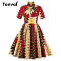 Tonval Chic Vintage Colorful Plaid Dress for Women Plus Size 4XL Pleated Dress Stand Collar Vintage Bow Swing Dresses