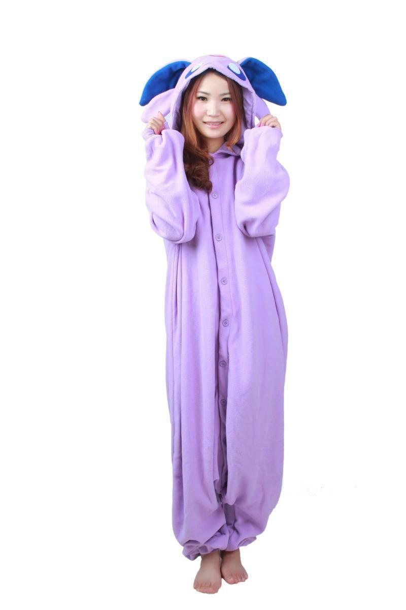 Cartoon Adult Polar Fleece Women Men Anime Espeon Purple Unisex Onesie Cosplay Pajamas Jumpsuit Halloween  Party Costomes-in Anime Costumes from Novelty & Special Use    1