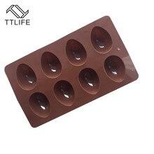 TTLIFE 8 Holes Egg Shape Silicone Fondant Molds Cake Sugarcraft Baking Mould Mousse Chocolate Pastry Cupcake Decoration DIY Tool