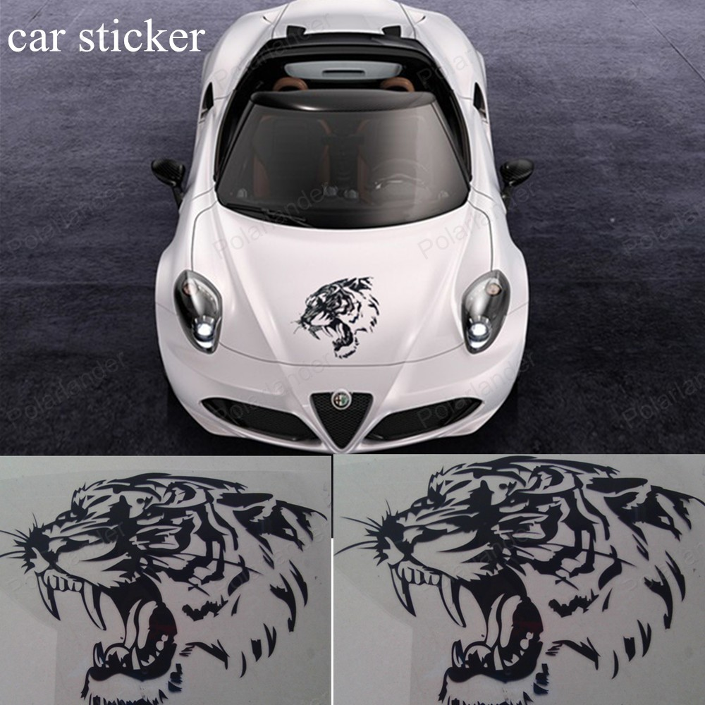 Car sticker design for white car - Car Stickers Black And White 28 28cm Cool Reflective Car Sticker Decals Tiger Head Hood