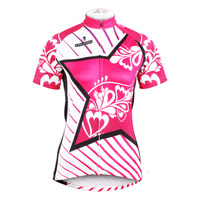 Free shipping Star Polyester Short Sleeve Cycling Jerseys Pink Womens Bicycle Clothing Breathable Cycling Clothes Size XS 6XL
