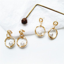 Irregular shape metal golden contracted earrings personality only beautiful girl pearl Exquisite jewelry earring
