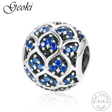 Geoki 925 Sterling Silver Round Blue Cubic Zirconia Pendant Charms fit Original Pandora Bracelet CZ Beads Necklace Pendant Gift real 925 sterling silver 6mm cubic zirconium round cz tennis bracelet bsqd3055