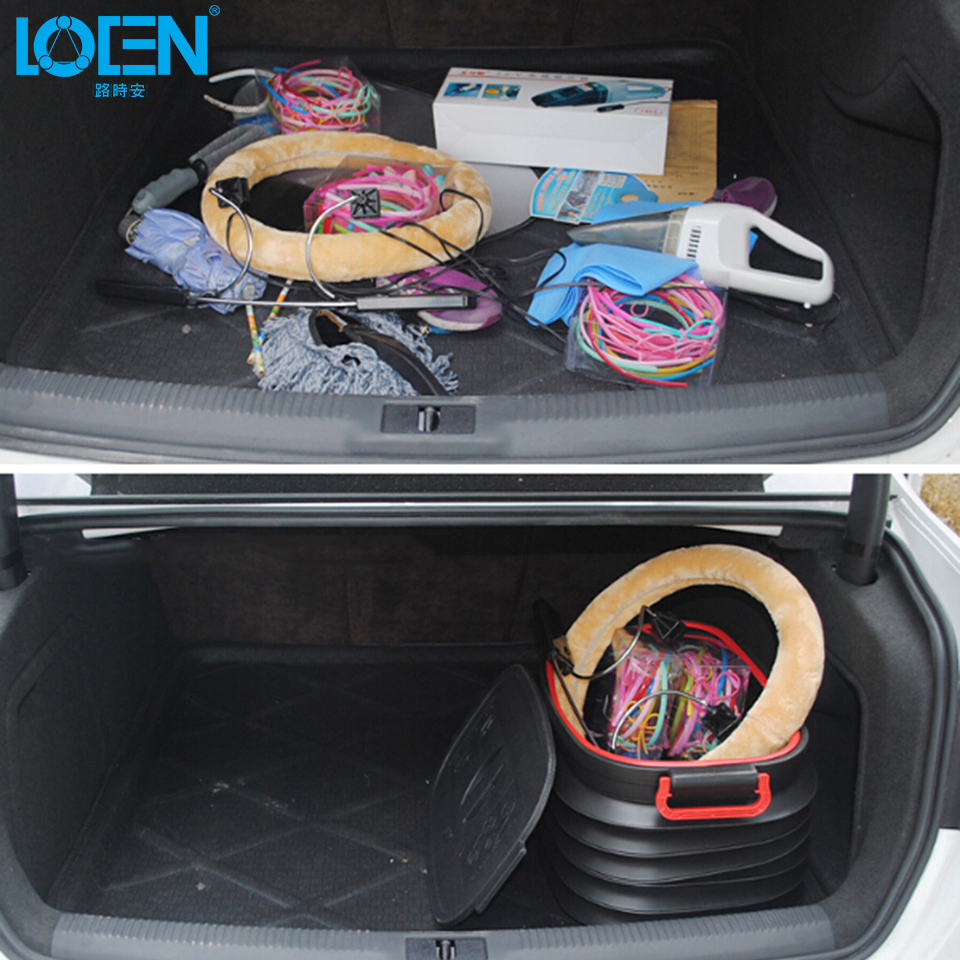 1PC Expanison and Folding Universal car 37L cover storage box office home Trunk box for toyota hyundai chevrolet vw ford kia all car rear trunk security shield cargo cover for volkswagen vw tiguan 2016 2017 2018 high qualit black beige auto accessories