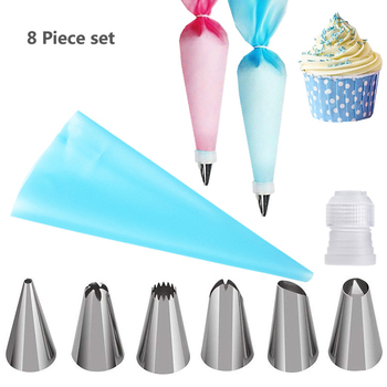 8Pcs/Set Stainless Steel Pastry Nozzles for Cream with Pastry Bag Cake Decorating Icing Piping Confectionery Baking Tools Set Bakeware