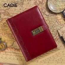 Хорошее CAGIE Тетрадь дневник с замком Винтаж кожаный ежедневник спираль a5 Тетрадь и журналы Картонных страниц личные Filofax Организатор