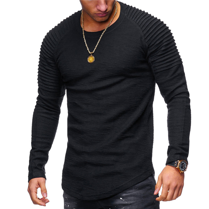 Men's Round Neck Slim Solid Color Long-sleeved style T-shirt