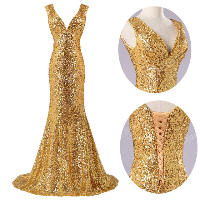 2014 Sexy Sequins to sparkle Lace V Neck Prom Dress Gold ...