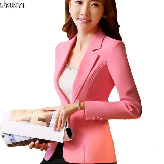 Coreano Manga Longa Blazer Feminino Rosa Branco Novo Outono paletó mulheres  Plus Size Trabalho OL Fino b493cc1e66c