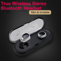 Mini Twins True Wireless Stereo Earphones with Charger Box Cordless Sport Headsets Bluetooth 4.1 Dual Earbuds for Android iPhone