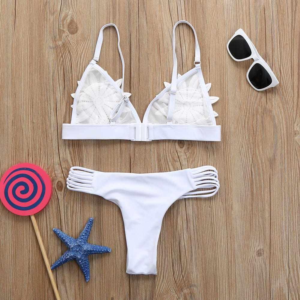 30 ^ Tipis Bikini Wanita Push-Up Bra Empuk Floral Bikini Set Baju Renang Pakaian Renang Mandi Tanga Bikini Putih Bikini plavky Купальник