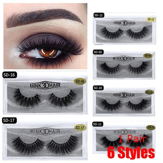 e69a9159a6f 1 Pair 3D Mink Thick Cross Long Lashes Luxury Handmade Mink Eyelashes  Medium Volume Mink Longlasting Wispy Upper False Eyelashes