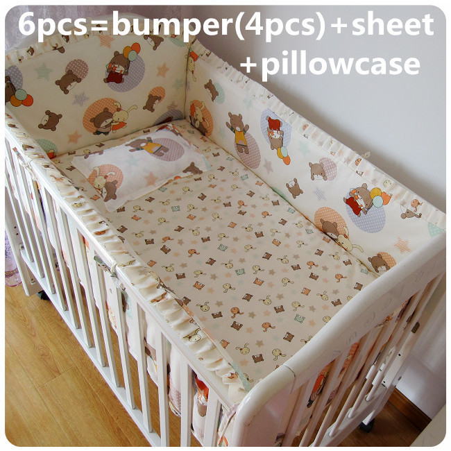 ФОТО Promotion! 6PCS Nursery baby cartoon cotton crib bedding set bumper, sheet,include (bumpers+sheet+pillow cover)