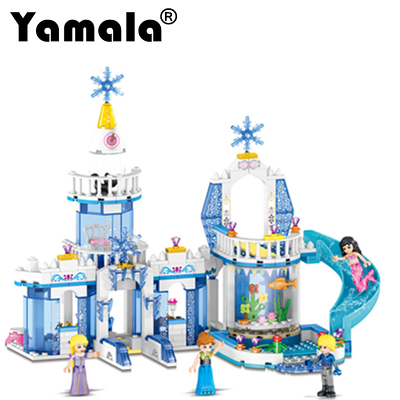 [Yamala] 344pcs Snow Queen Snow Princess Elsa Ice Dream Castle Princess Anna Girl Building Blocks Compatible with Legoeingly