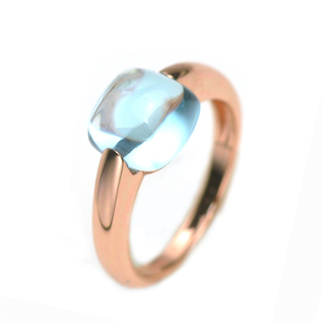 Natural Blue Topaz Ring 925 Sterling Silver Engagement Rings for Women Fine Jewelry Gift
