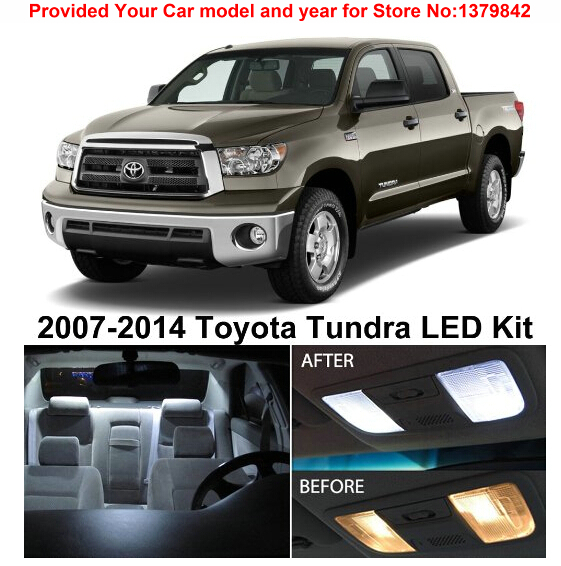 Free Shipping 10Pcs Lot car styling Xenon White Premium Package Kit LED Interior Lights For Toyota Tundra 2007 2014 in Signal Lamp from Automobiles Motorcycles