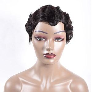 Image 2 - Short Finger Wave Wigs Short Bob Wigs For Woman Short Pixie Cut Wig Brazilian Remy Short Human Hair Wigs Mix Color 1B 2# TIANTAI