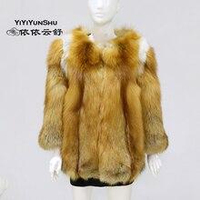Yiyyunshu Новинка года, пальто с мехом лисы красного цвета, женская зимняя модная Толстая теплая куртка из натуральной кожи высокого качества
