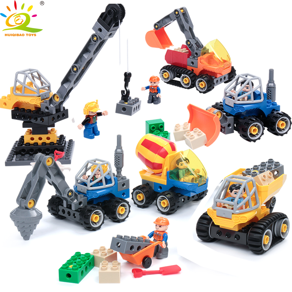 все цены на HUIQIBAO Toys Construction Truck Mixer Crane Big Building Blocks For Kids Compatible Legoed Duploed Engineering City Bricks sets онлайн