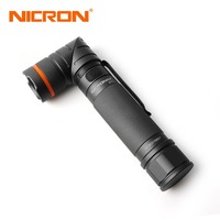 NICRON Magnet 90 Degree Twist UV White 2 Color Rechargeable Flashlight 18650 2500mAh Li Ion Battery