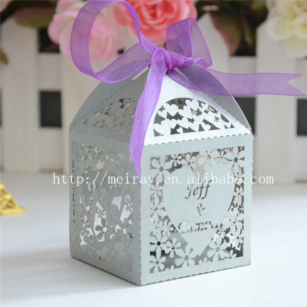 Wedding Gifts For Guests Silver Box With Purple Ribbon Laser Cut Favor Personalized In Gift Bags Wring Supplies From Home Garden On