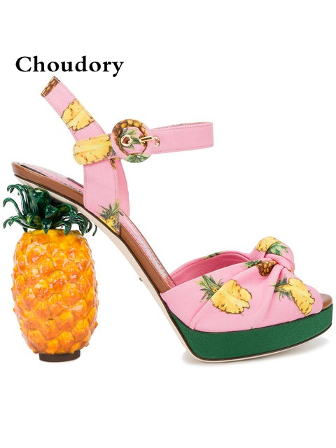 Women Pink Cloth Platform Sandals Pineapple Chunky Peep Toe High Heels Summer Shoes Woman Ankle Strap Chaussure Femme 2018 цена