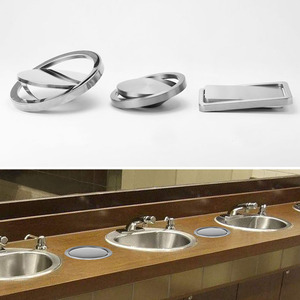 Image 3 - Stainless Steel Flap Flush Recessed Built in Balance Swing Flap Lid Cover Trash Bin Garbage Can Kitchen Counter Top