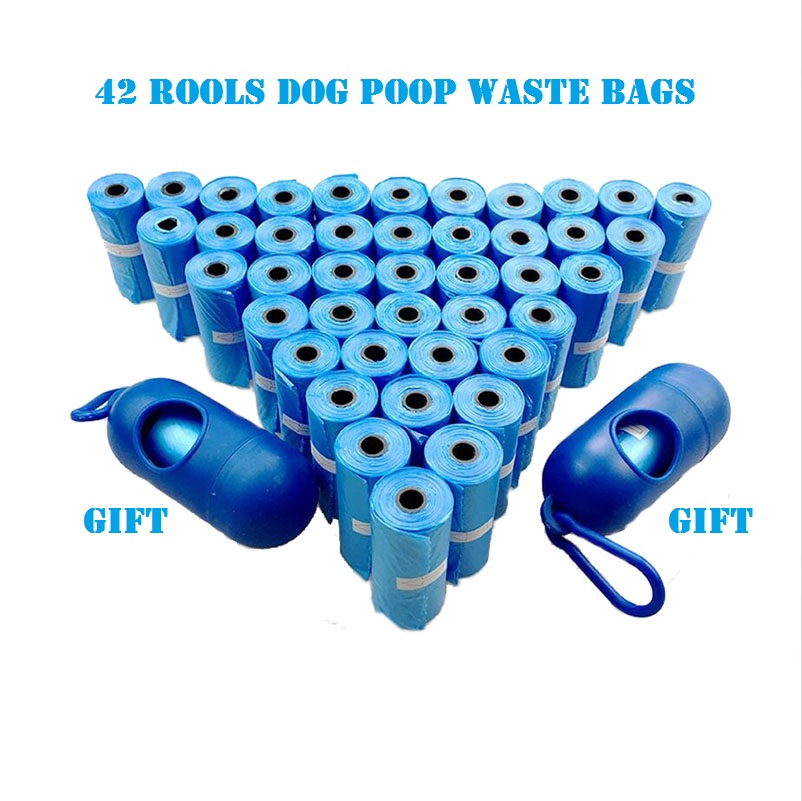 New Quality  42 Rolls Dog Waste Bags With 2 Dispenser And Leash Clip Poop Bag Pet Durable Refill Rolls Black Pooper Scoopers