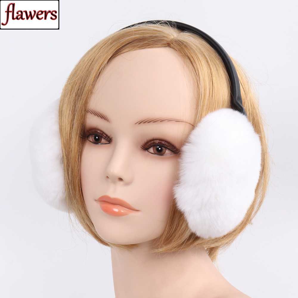 Elastic Women 100% Natural Rex Rabbit Fur Earmuffs Winter Warm Lady Genuine Rex Rabbit Fur Earmuff Russian Fluffy Fur Earflaps