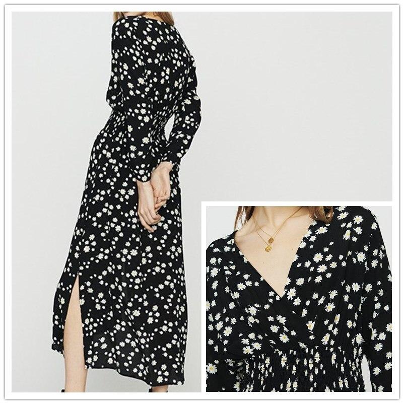 Vestido de mujer 100% viscosa pequeño arrugado elegante Delgado cuello en V Vestido de manga larga-in Vestidos from Ropa de mujer    1