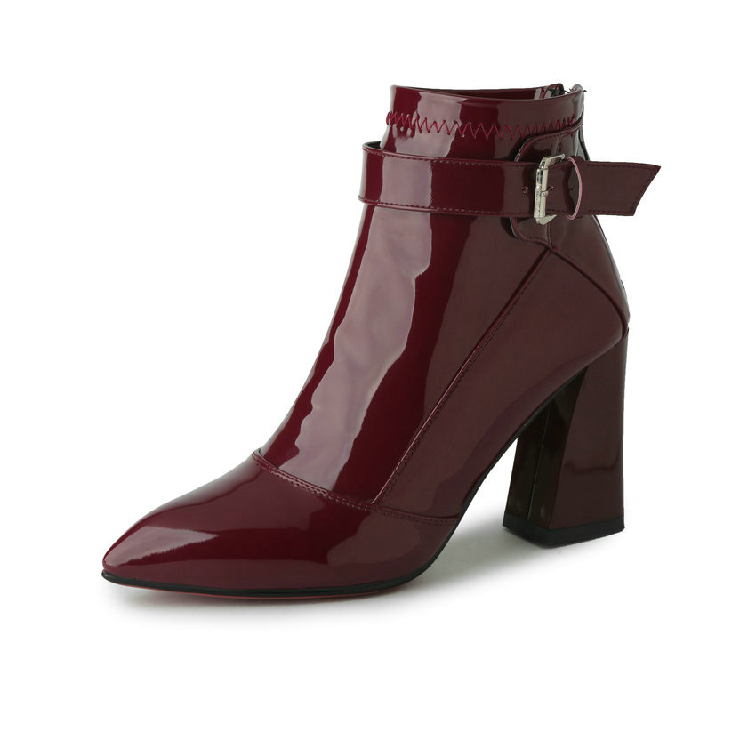 Burgundy Pointed Toe PU Patent Leather Women Shoes Zipper Square High Heel Ankle Boots Women Motorcycle Boot Size 34-43 2017 pink shoes woman pu leather square high heel ankle boots zipper women winter shoes ladies motorcycle boots size 33 43