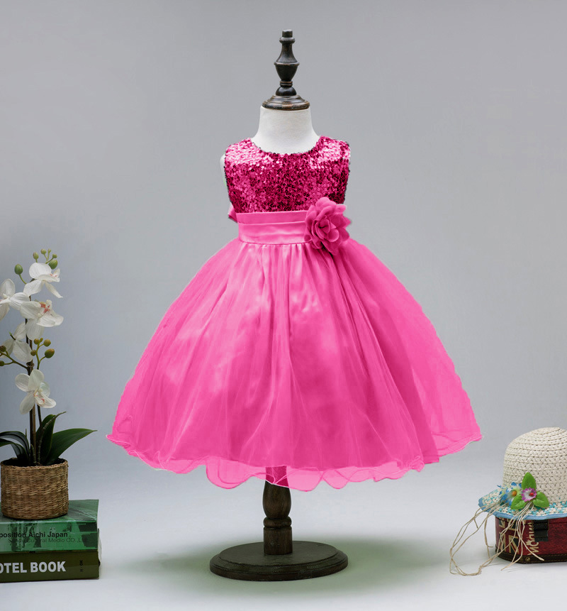 Maix Princess Wedding Party Kids Costume Children Clothing Ball Gown Bridesmaid Tull Sequined Tank Flower Girls Formal Dress kids girls bridesmaid wedding toddler baby girl princess dress sleeveless sequin flower prom party ball gown formal party xd24 c
