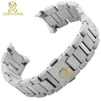 Stainless steel Watchband solid steel strap silver width 22mm bracelet men's watch wristwatches band accessories for WAR201D