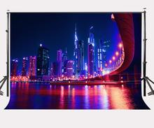 150x220cm Dubai Modern Buildings Backdrop Ultra Violet Night View Photography Background Color of the Year 2018