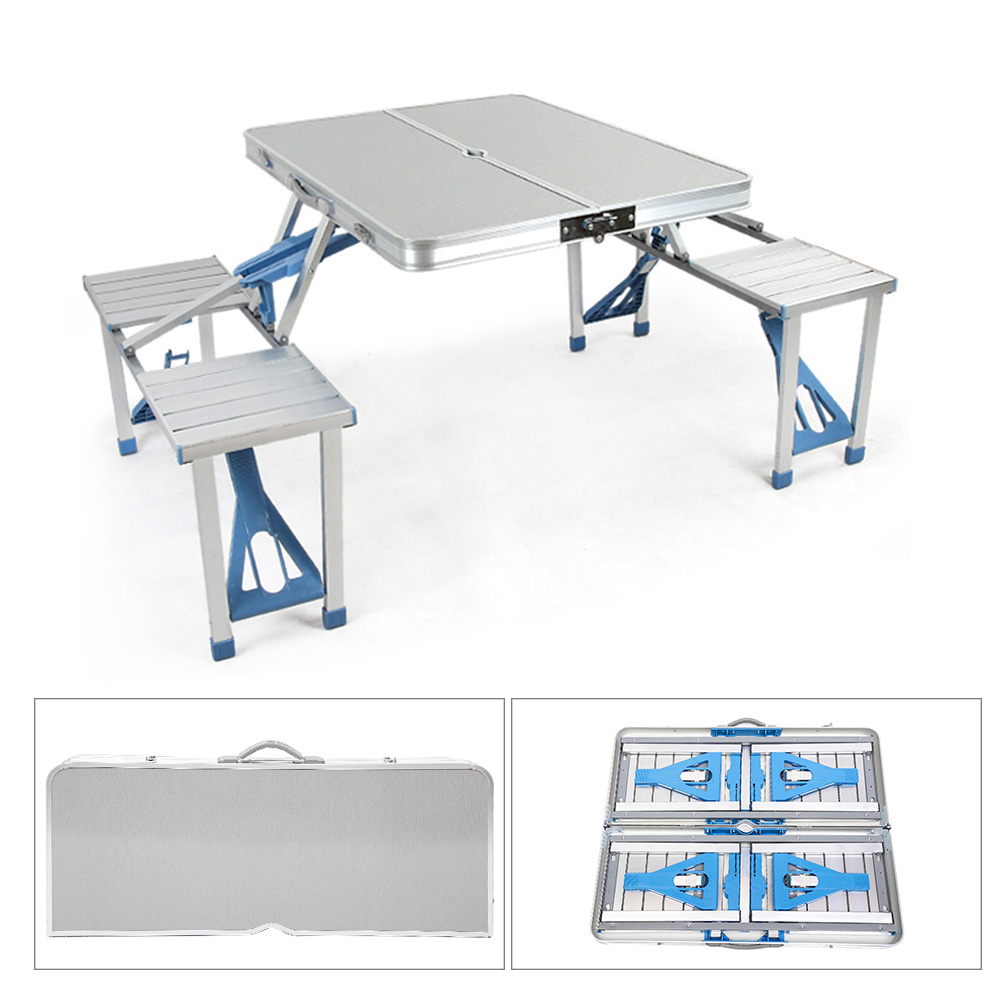 portable outdoor folding tables with 4 seats umbrella hole aluminum alloy table sets for garden camping