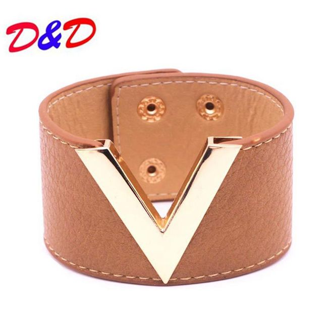 2017 New Hand Fashion Leather Bracelet Simple All Match MS OL V Word Wide Women